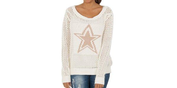 Dámsky snehovo biely perforovaný sveter s hviezdou Vila Clothes