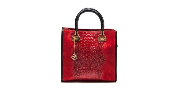 Dámska červená kabelka s krokodílim vzorom Carla Ferreri