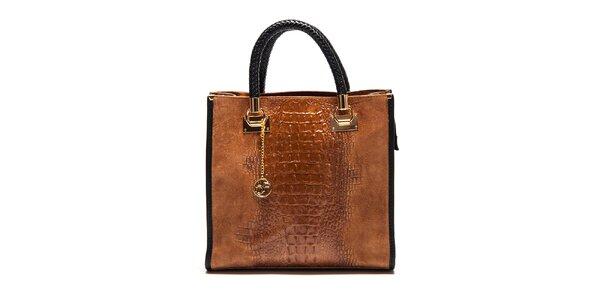 Dámska koňaková kabelka s krokodílim vzorom Carla Ferreri