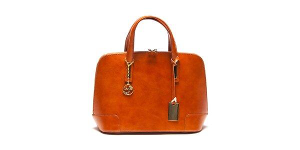 Dámska koňaková kožená kufríková kabelka Carla Ferreri