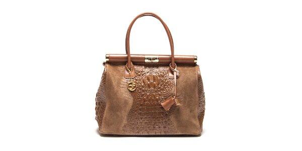 Dámska kufríková kabelka v hnedej farbe Carla Ferreri