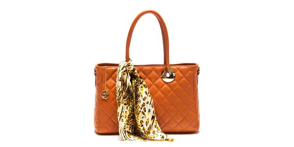 Dámska koňaková kabelka so šatkou Carla Ferreri