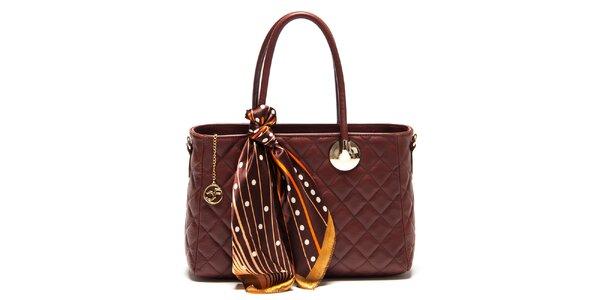 Dámska tmavo hnedá kabelka so šatkou Carla Ferreri