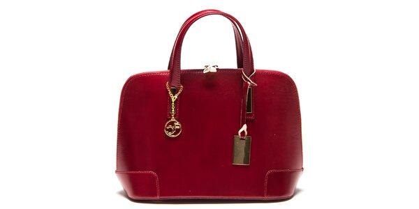Dámska červená kožená kufríková kabelka Carla Ferreri