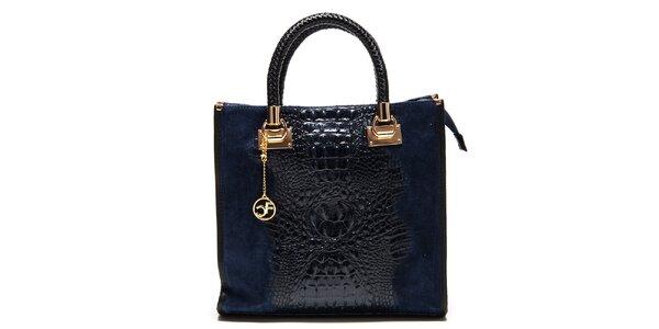 Dámska tmavo modrá kabelka s krokodílim vzorom Carla Ferreri