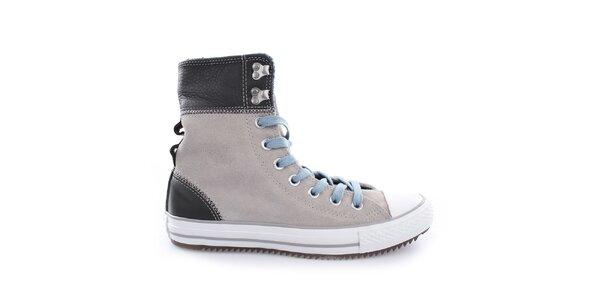 Dámske svetlé členkové topánky s hnedými prvkami Converse