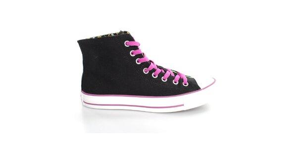 Dámske čierne textilné tenisky s farebnými detailmi Converse