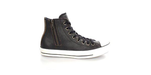 Dámske čierne členkové kožené tenisky Converse