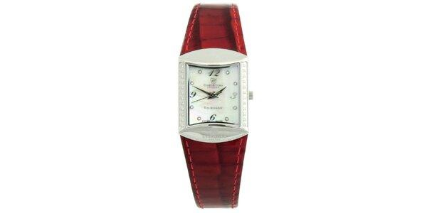 Dámske hranaté hodinky s diamantmi a červeným remienkom Christina London