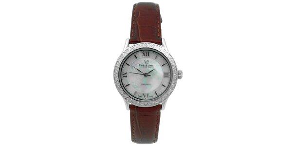 Dámske hodinky s diamantmi a hnedým remienkom Christina London