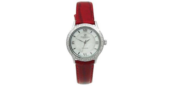 Dámske hodinky s diamantmi a červeným remienkom Christina London