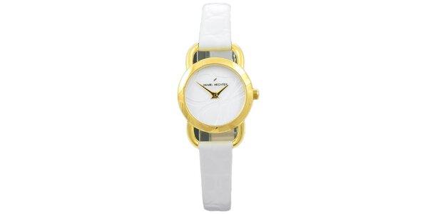 Dámske biele hodinky bez indexov Daniel Hechter