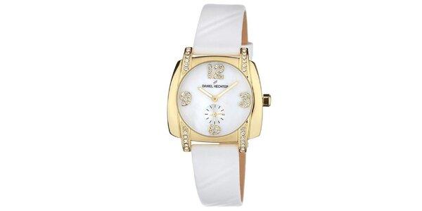 Dámske biele hodinky s malými kamienkami Deniel Hechter