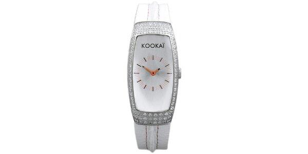 Dámske biele hodinky s malými kryštálikmi Kookai