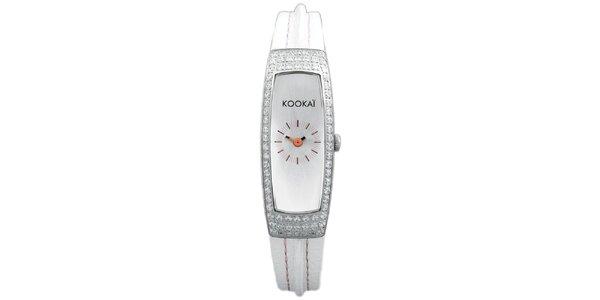 Dámske úzke biele hodinky s malými kryštálikmi Kookai