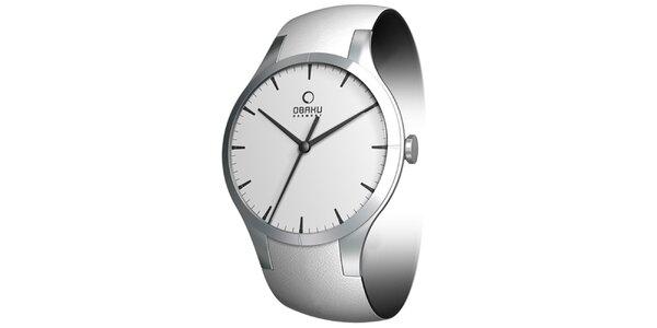 Dámske minimalistické hodinky v striebornej farbe Obaku