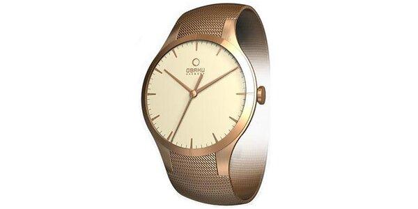 Dámske minimalistické hodinky vo farbe ružového zlata Obaku