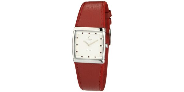 Dámske hodinky s červeným koženým remienkom Obaku