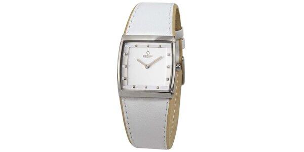 Dámske biele hodinky s hranatým ciferníkom Obaku