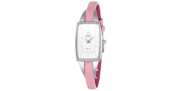 Dámske hodinky s úzkym ružovým remienkom Obaku