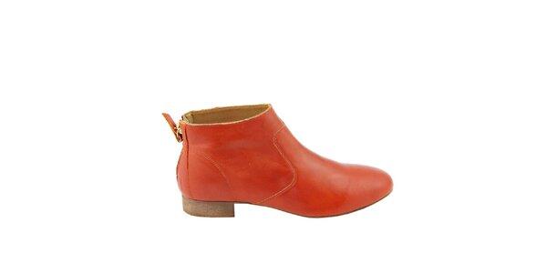 Dámske červené kožené členkové topánky na zips Eye