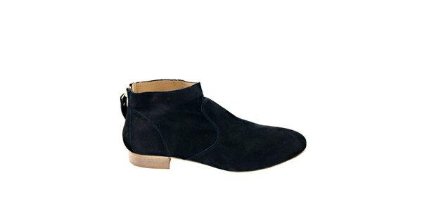 Dámske čierne semišové členkové topánky na zips Eye