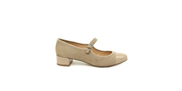 Dámske béžové semišové topánky s lesklou špičkou Eye