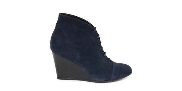 470a70c8577f Dámske modré šnurovacie semišové topánky na kline Eye