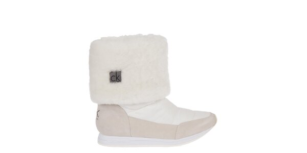 Dámske bielo-krémové snehule Calvin Klein