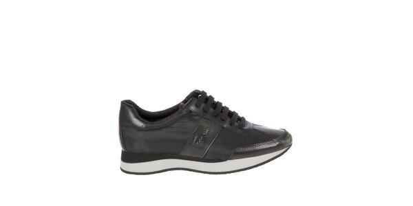 Dámske čierne kožené tenisky Calvin Klein