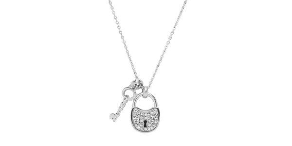 Dámsky náhrdelník so zámkom a kľúčom Fossil