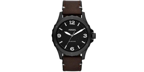 Pánske čierne hodinky s hnedým remienkom Fossil