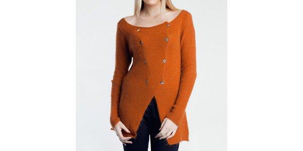 Dámsky oranžový svetrík na gombíky Nero su Bianco