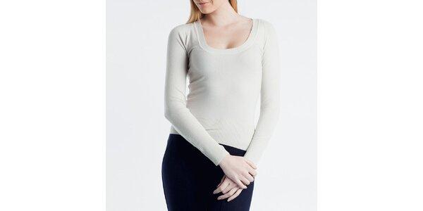 Dámsky smotanový sveter s guľatým výstrihom Nero su Bianco
