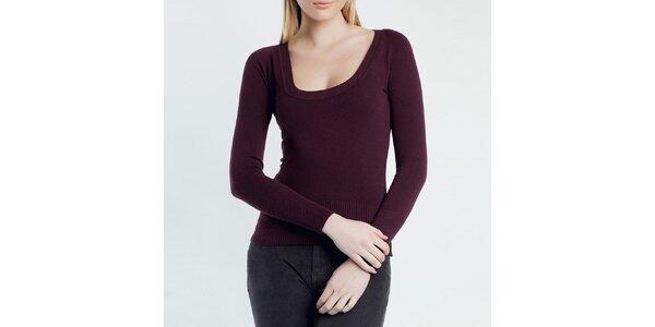 Dámsky vínový sveter s guľatým výstrihom Nero su Bianco