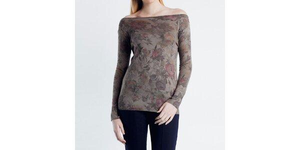 Dámsky svetrík s kvetinovým vzorom Nero su Bianco