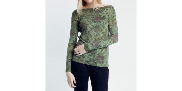 Dámsky zelený svetrík s kvetinovým vzorom Nero su Bianco