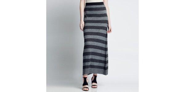 Dámska pruhovaná dlhá sukňa v šedých odtieňoch Nero su Bianco