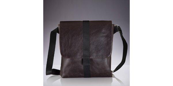 Pánska hnedá kožená crossbody taška Solier