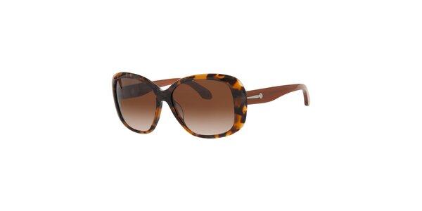 Dámske jantarovo-hnedé slnečné okuliare Calvin Klein s kovovými detailami