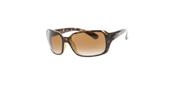 Dámske tmavé žíhané slnečné okuliare s hnedými sklami Ray-Ban