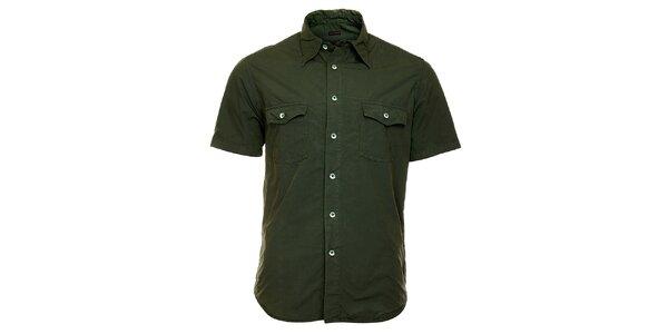 Pánska tmavo zelená košeľa Freesoul s krátkym rukávom