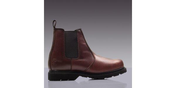 Pánske hnedé kožené členkové topánky GRAFTERS