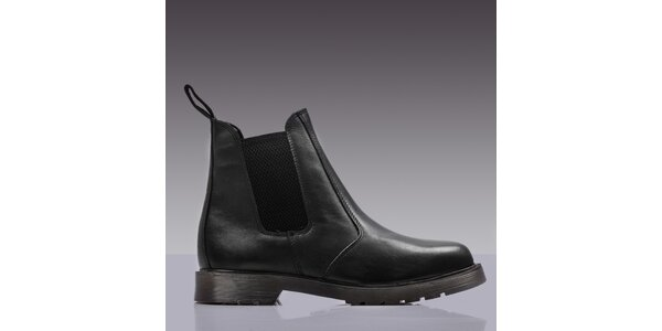 Pánske čierne kožené chelsea topánky Grafters