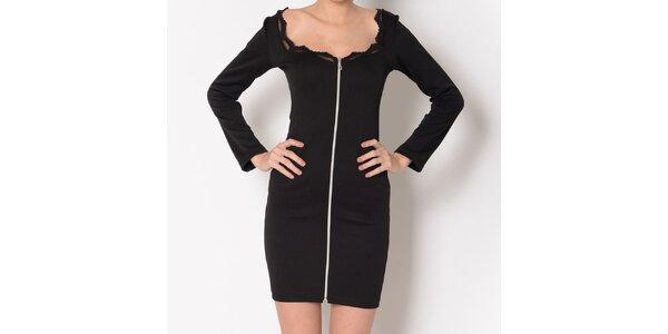 Dámske čierne šaty so zipsom Santa Barbara