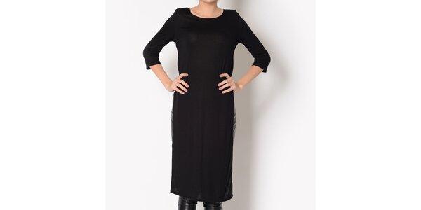 Dámske čierne bavlnené šaty s rozparkom Santa Barbara