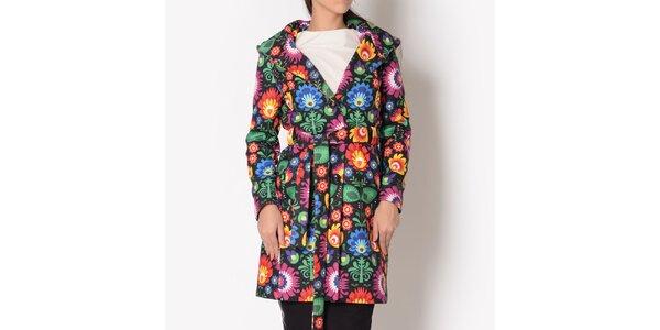 Dámsky kabát s farebným kvetinovým vzorom a kapucňou Santa Barbara