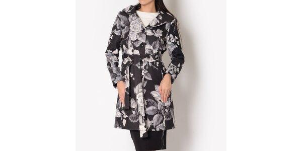 Dámsky čierny kabát so šedou kvetinovou potlačou Santa Barbara
