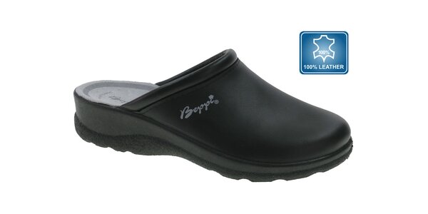 Dámske čierne kožené papuče Beppi
