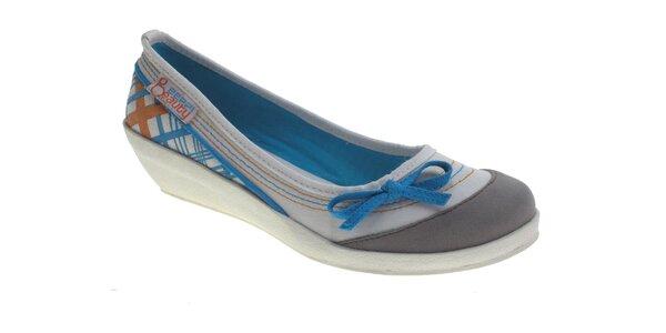 Dámske šedo-biele baleríny Beppi s modrými detailami